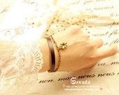 Fashion Vintage Leather Rope Bracelet double quatrefoil  253s
