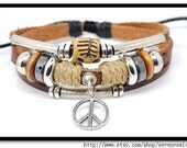Adjustable Bracelet Cuff made of Leather and Cotton Ropes 278S