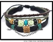 Adjustable Bracelet Cuff made of Leather and Cotton Ropes 279S