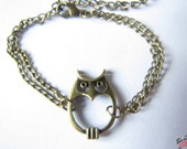 adjustable antique bronze retro style Owl Bracelet Cuff Bracelet Chian Bracelet 450S