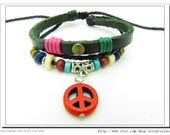 Red Anti-war peace peaceful Adjustable Couple bracelets Cuff made of Black Leather Ropes and Color Wooden Beads  532S