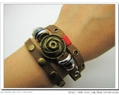 Adjustable Leather Bracelet Flowers Bracelet made of  Brown Leather and Metal Buckle women bracelet jewelry  cuff bracelet 718S