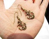 Cute Vintage bronze anchor earrings  pendants  fashion Earrings Cute Earrings E15