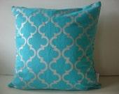 Cushion cover Geometric design. Silver design on aqua Linen/Cotton 50cm x 50cm