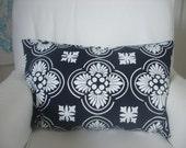 Cushion cover Lumbar Moorish design. White design on dark navy blue Linen/Cotton 60cm x 40cm