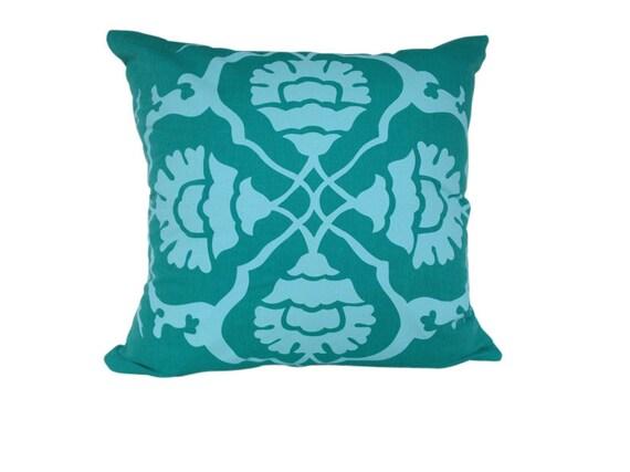 Aqua Door Designs Cushion cover in Floral A. Aqua design on jade green Linen/Cotton 42cmx42cm