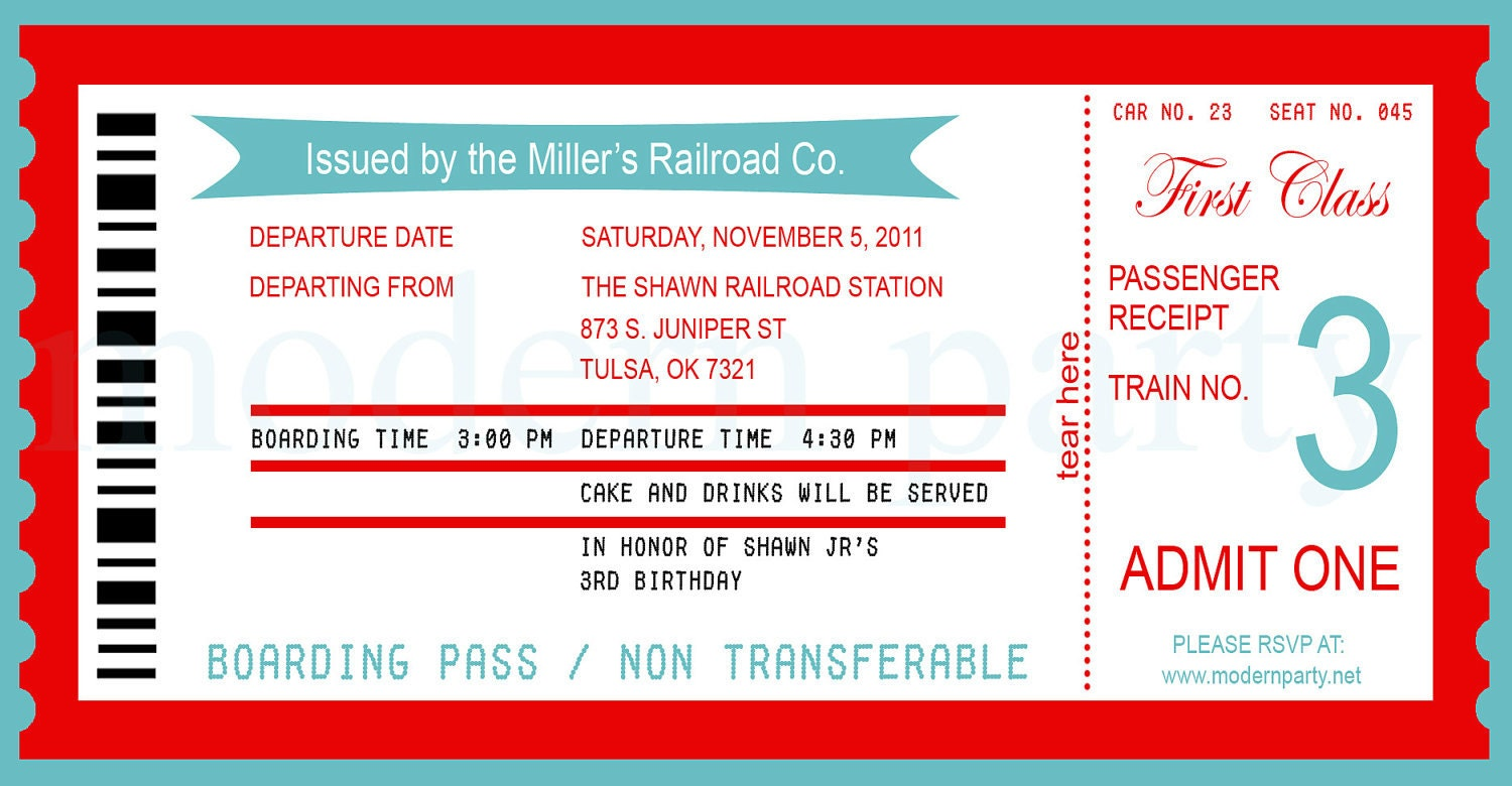 Pics For > Train Ticket Template Printable