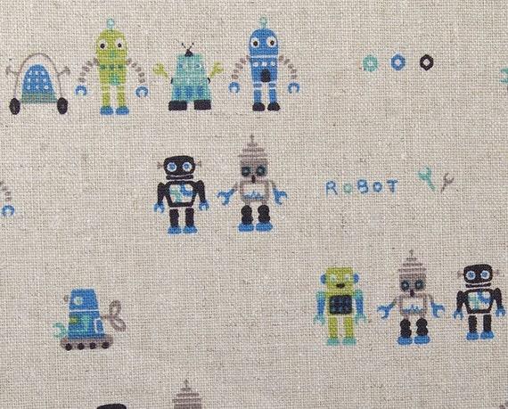 1yd / linen / heavy weight / kawaii robot / blue