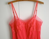 Vintage Hot Coral Pink Slip Rogers XS S 34