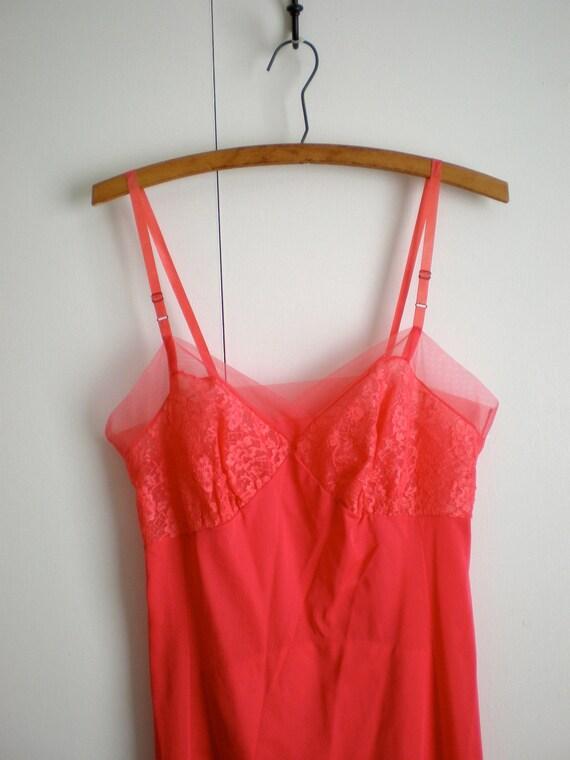 Vintage Hot Coral Pink Slip Rogers XS S 34
