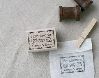 SP41,Lovely Laundry Marks Handmade Stamp with Linen and Cotton
