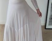 1960s Ivory Wedding/Bridal Dress/Gown with Lemon Ruffle Trim