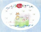 "Illustration Art Print Fox 'n Bunny ""Time For Tea"" 8x10 inch Wall Decor"