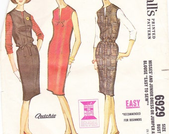 1963 Mad Men Slim Fitting Dress or Jumper and Blouse Vintage Pattern, McCalls 6929, Front Slit Neckline with Bow Trim, Belted or Shift Style