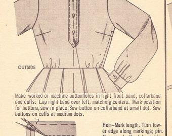 1960s Full Skirted Shirtwaist Vintage Dress Pattern. Butterick 2668,Tab Front. Long Cuffed Sleeves, Shirt Collar, Box Pleats