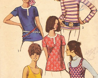 1970s Blouses and Tank Top Vintage Pattern, Simplicity 8834, Long or Short Sleeves, or Sleeveless, Zipper Back, Long Overblouse