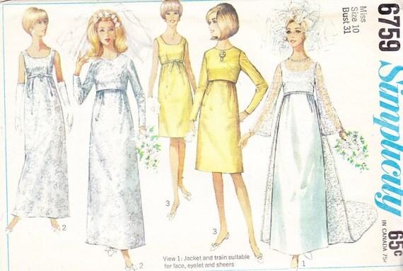 1966 mod empire waist wedding gown vintage patternsimplicity for Empire waist wedding dress patterns