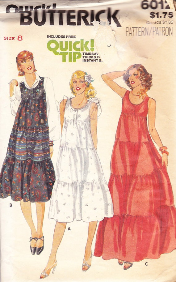 1970s Sundress or Jumper Vintage Pattern.  Empire Waist, Button Front, Scoop Neck, Mini, Midi, or Maxi Lengths
