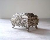 Silver plated Jewelry box, reach decoration pattern, Vintage India treasures box