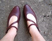 """Woman Burgundy shoes, Vintage 90s leather shoes, """"Antelope"""" shoes made in Israel Listed by MeshuMaSH on etsy"""