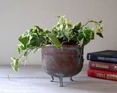 Copper Planter, Vintage bowl with decorative legs, green shade effects  Listed by MeshuMaSH on Etsy
