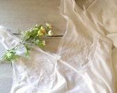 Vintage Slip,  White Snow Floral Lace Slip Nightie Dress, Size 16