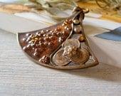 Boho Pendant Necklace, Vintage flowers pendant necklace