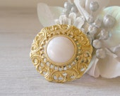 Gold Scarf pin, Vintage Gold and Pearl scarf pin