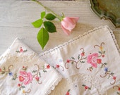 Reserved for Ann.........................Vintage Pillow Covers, Shabby chic embroidered small pillow covers