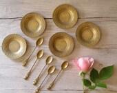 Copper Sampling set, Vintage set of 5 treat plates