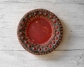 Folk Art small Plate, Vintage decorative Boho plate, glass and beads