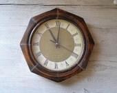 Vintage Wall clock, brown wood Clock