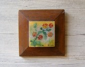 Garden  floral Art Picture, Vintage small enamel and wood picture, autumn colors, small gift, Nature inspired, folk art