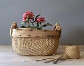 Vintage Rustic Basket, wood and reeds farmhouse Basket, rustic planter