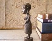 Primitive  Woman figurine, Vintage African woman, tribal home decor, cottage chic, wood folk art, Autumn