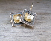 Gold and Silver earrings,1990 Vintage earrings Listed by MeshuMaSH on Etsy