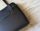 Retro Black Handbag, Mid century modern, Casual purse, Mad men Inspired, 60s fashion accessories, Girlfriend gift, Leather like bag