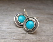 Silver and Turquoise earrings, Vintage, 725 silver, designer OOAK  1990s Listed by MeshuMaSH on Etsy