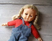 Vintage Play Doll, soft body girl doll, Retro Blonde Doll, stuffed doll, Gift for girl, cottage chic, Nursery decoration
