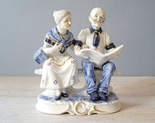 Reserved for jolieni...........Old Couple Figurine, Vintage Blue and white Porcelain People, made in Japan