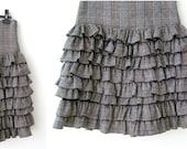 Gray Ruffles Skirt, Vintage Ruffles wool skirt, gray Tartan skirt