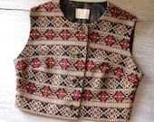 Vintage woman Vest, 70s style colorful short vest, mad men, mid century outwear, daily wear, Christmas,