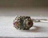 Antique Silver Ring, Vintage Boho Ring, Silver and Ruby shade stone