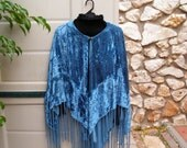 Vintage Boho Shawl, Blue Velvet with sewed beads, Hippie, Gypsy, retro fashion