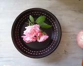 Black wood Bowl, Minimal retro design, black and pink, cottage chic, zen home decor, vintage Autumn, winter home decor, Christmas gift