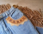 Retro Cowgirl skirt, Boho 70s style Blue denim and leather Fringe long skirt, Bohmians jeans, Hippie, Gypsy