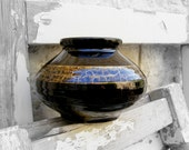 Vintage Black Vase, Black wide vase with golden trim, ceramic vase