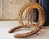 Vintage horseshoes, 3 rusted horseshoes, home talisman, farmhouse decor