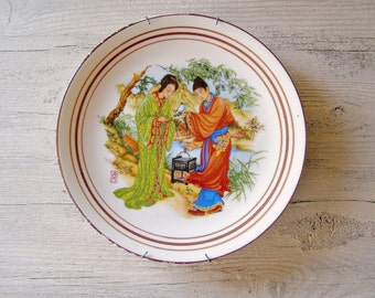 Vintage Bavarian plate, Traditional Japanese couple, Asia, world travel, wall art, wall plate, colorful, Spring, Summer