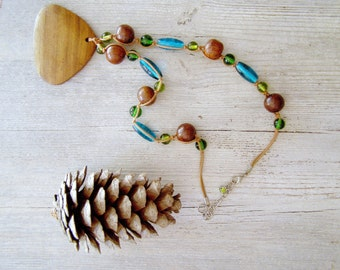 Vintage Boho Necklace, Wood pendant and glass beads Necklace, Gypsy necklace, Hippi 70s style jewelry, green. blue, brown